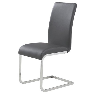 BOX OF 2 FAUX LEATHER CHROME DINING CHAIR IN GREY