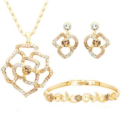 14K Gold Plated Swarovski Elements 4 Pieces Jewellery Set