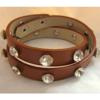 Leather Bracelet With Cystals (Brown)