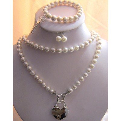 8MM White Pearls Long Necklace With Silver Heart Shape Lock/ Bracelet With a Key/Earrings