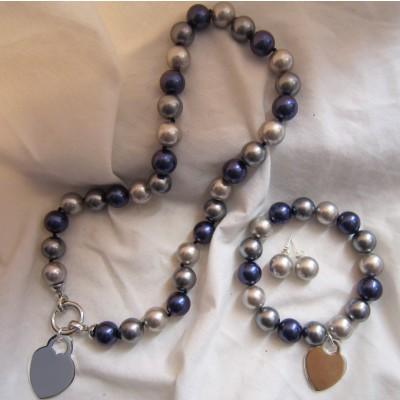 10MM Multi Color Pearls Necklace/Bracelet/Earrings