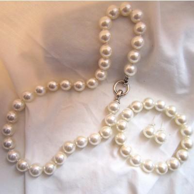 10MM White Pearls Necklace/Bracelet/Earrings