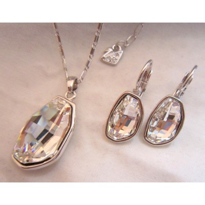 Bean Shape  White Swarovski Crystal Necklace With Earrings