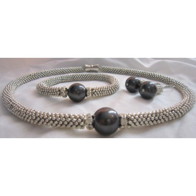 Black Pearl Silver Set