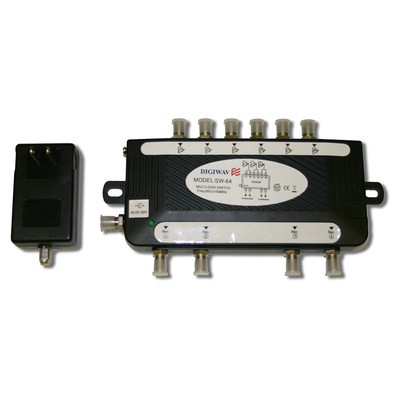 Digiwave 6 IN 4 OUT Satellite Switch (DGSSW64BLACK)