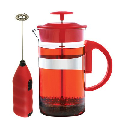 Café Au Lait French Press 1000 ml and Milk Frother Coffee and Tea Lover's Set RED