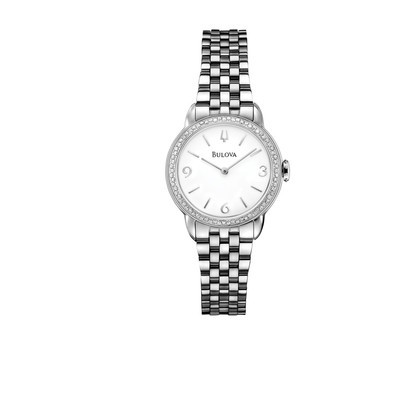 Ladies Stainless Steel Diamond Bracelet Round Face Dress Watch