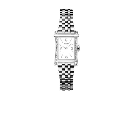 Ladies Stainless Steel Diamond Bracelet Rectangle Face Dress Watch