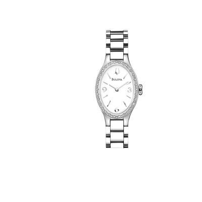 Ladies Stainless Steel Diamond Bracelet Oval Face Dress Watch