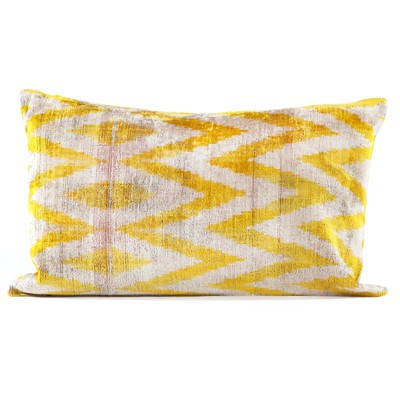 "16"" x 24"" Silk Velvet Ikat Pillows, Yellow"