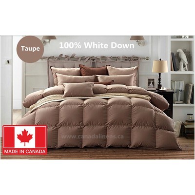 100% WHITE DOWN DUVET MADE IN CANADA Taupe Color Queen size