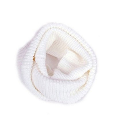 Infinity 2 Circle Cable Knit Cowl Neck Long Scarf Shawl - White Color