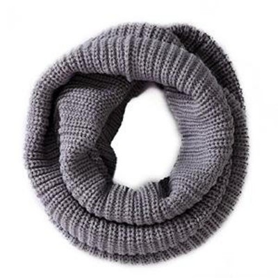 Infinity 2 Circle Cable Knit Cowl Neck Long Scarf Shawl - Grey Color