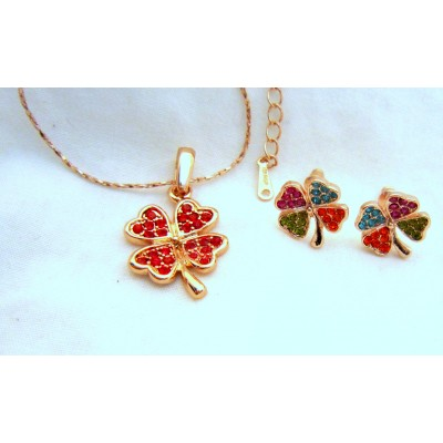 Four Leave 18K Rose Gold Swarovski Crystal (Red) Necklace With Earrings