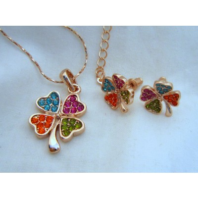 Four Leave 18K Rose Gold Swarovski Crystal (multi color) Necklace With Earrings