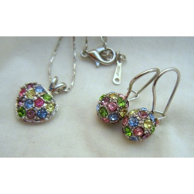 Heart Shape18K White Gold Swarovski Crystal (multi color) Necklace with Earrings