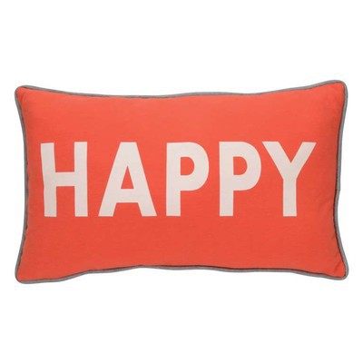 Happy Cushion Pillow Set of 2  grey and orange 19 by 12 inches