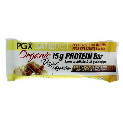 Natural Factors PGX Satisfast Organic Vegan Protein Bar - Dark Chocolate Peanut Butter Single
