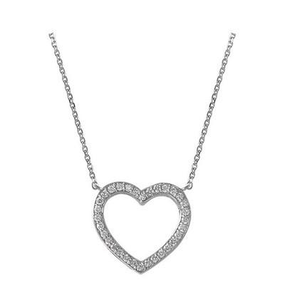 Lumax Design Diamond Open Heart Necklace.