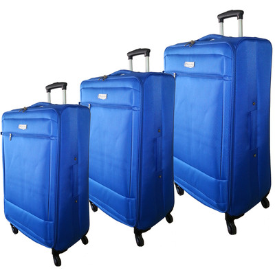 "McBrine Super Light 3 PC soft sided Luggage Set on swivel wheels consisting of 28 "" ,24"" and 19 "" uprights Blue"