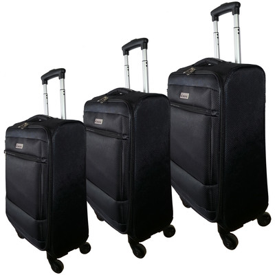 "McBrine Super Light 3 PC soft sided Luggage Set on swivel wheels consisting of 28 "" ,24"" and 19 "" uprights Black"