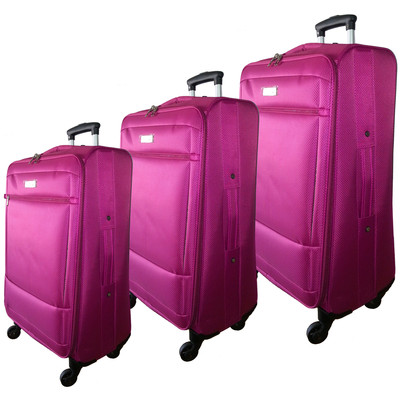 "McBrine Super Light 3 PC soft sided Luggage Set on swivel wheels  consisting of 28 "" ,24"" and 19 "" uprights   Rose"
