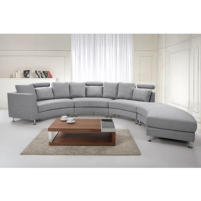 Round Upholstered Sofa - Modern Fabric Sectional - ROTONDO Light Grey