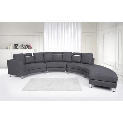 Round Upholstered Sofa - Modern Fabric Sectional - ROTONDO Dark Grey