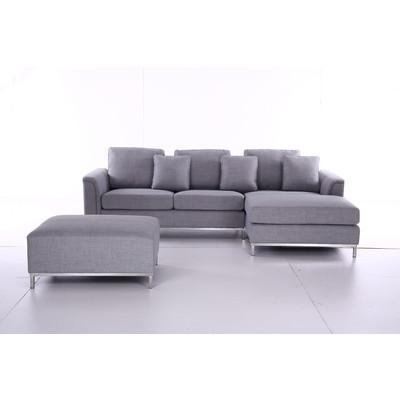 Modern Design Sectional Sofa - Light Grey Fabric - OSLO