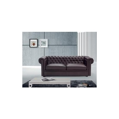 Leather Sofa - Classic Design Loveseat - Model Chesterfield brown