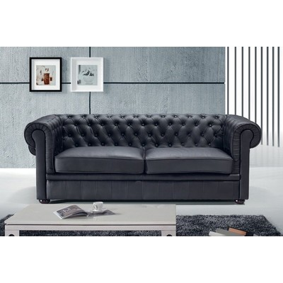 Leather Sofa/Quilted Couch - CHESTERFIELD Black