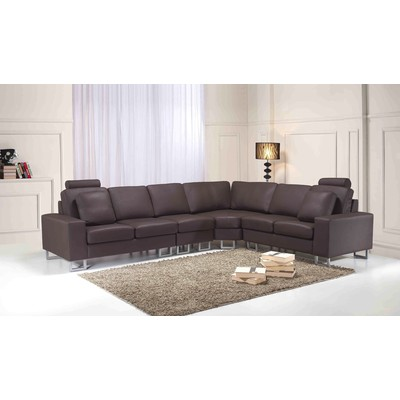 Contemporary Genuine Leather Sofa - Sectional Couch STOCKHOLM brown
