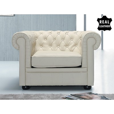 Genuine Leather Armchair  - Club Chair - Model CHESTERFIELD cream