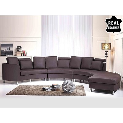 Round Leather Sofa - Sectional Couch - ROTONDO brown