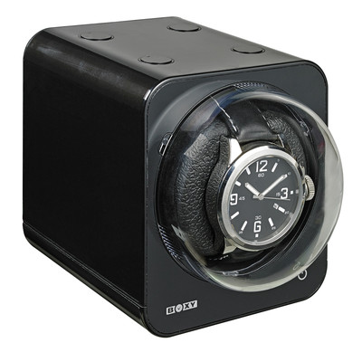 BOXY FANCY STACK ABLE BRICK WATCH WINDER - BLACK