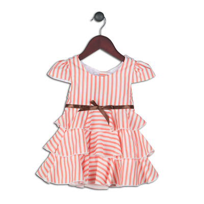 Kendra Coral Vintage Look Striped Dress with Tiers and Open Back