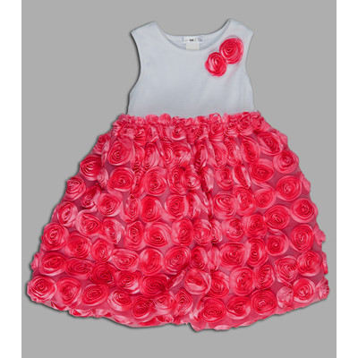 Sandra Stretch Knit Dress with Satin Roses Skirt
