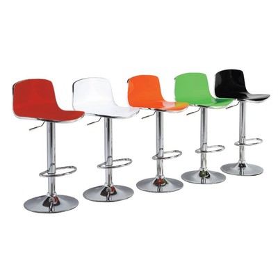 Amos Bar Stool - Set of two (2) - Your choice of Orange, Green, White, Black