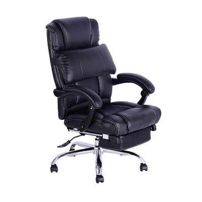 PU Leather Adjustable Executive Reclining Office Chair w/ Footrest and Back Support Black