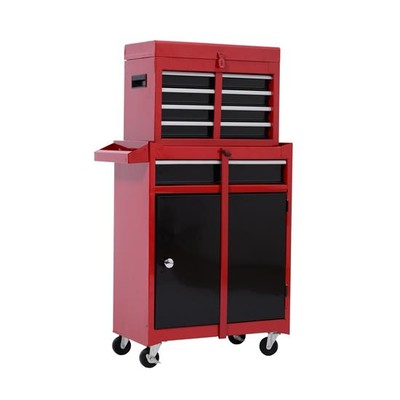 Rolling Tool Storage Box Top Chest Organizer Sliding Drawers Red