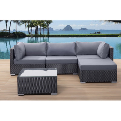 Sectional Outdoor Sofa Set - SANO - black wicker