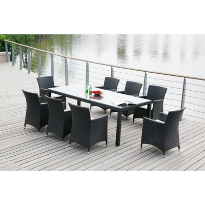 Outdoor Wicker Dining Set Patio Furniture - CHIASSO 8