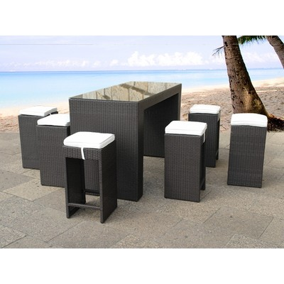 Outdoor Bar Set for Deck and Patio in Resin Wicker - AMBRI