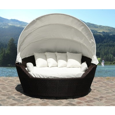Resin Wicker Canopy Daybed Modern Patio Furniture   SOGNO