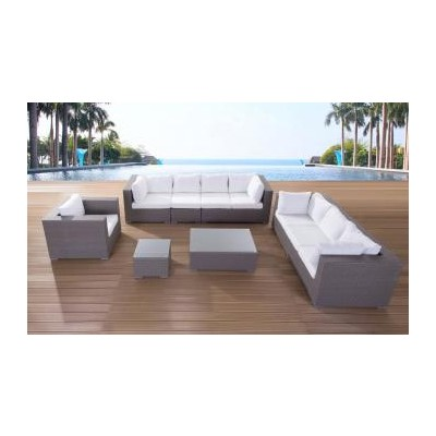 Luxury Deep Seating Lounge Set - Grey Wicker Outdoor Furniture - MAXIMA