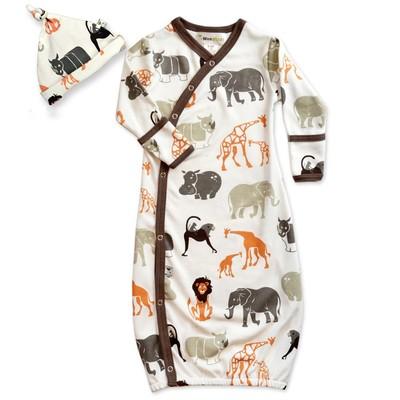 Wee Urban Safari Gown and Cap Set