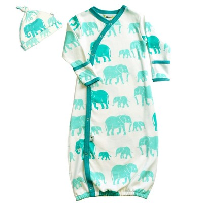 Wee Urban Elephants Gown and Cap Set
