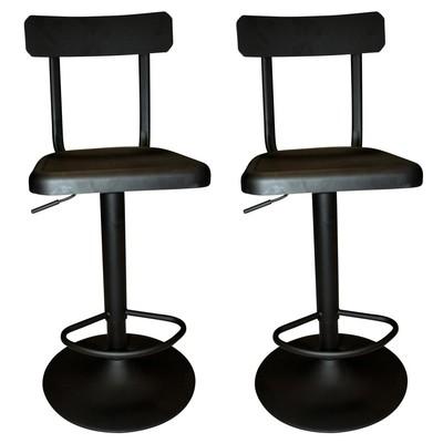INDUSTRIAL STYLE ADJUSTABLE STOOL SET OF 2-BLACK