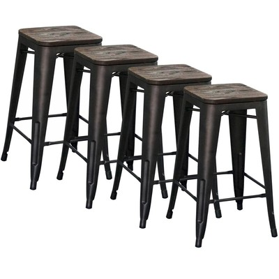 """INDUSTRIAL STYLE 26"""" COUNTER STOOL SET OF 4-GUNMETAL"""