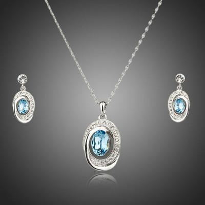 Platinum Plated Sky Blue Swiss Cubic Zirconia Jewellery Set
